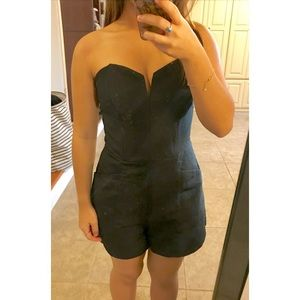 Black Strapless Romper With Pockets
